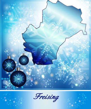 freising: Map of Freising in Christmas Design in blue Stock Photo