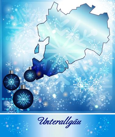 Kaart van landkreis unterallgäu in Design Kerstmis in blauw