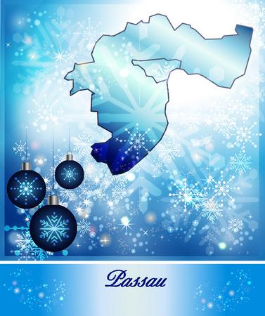 rott: Mapa de Passau en dise�o de la Navidad en azul Foto de archivo
