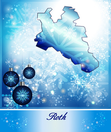 roth: Map of Roth in Christmas Design in blue