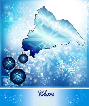 hallow: Map of cham in Christmas Design in blue Stock Photo
