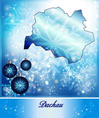 indian village: Map of Dachau in Christmas Design in blue