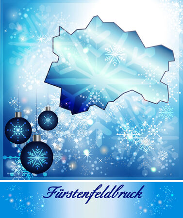 alling: Map of Fuerstenfeldbruck in Christmas Design in blue