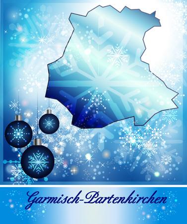 ettal: Map of Garmisch-Partenkirchen in Christmas Design in blue