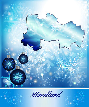 falkensee: Map of Havelland in Christmas Design in blue