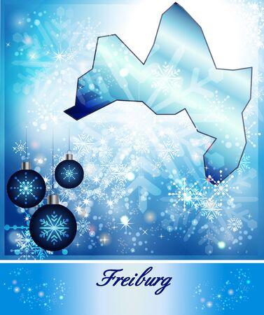 freiburg: Map of Freiburg-im-Breisgau in Christmas Design in blue