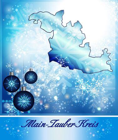 wertheim: Map of Main-Tauber-Kreis in Christmas Design in blue