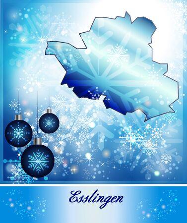teck: Map of Esslingen in Christmas Design in blue Stock Photo