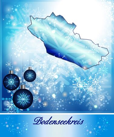 friedrichshafen: Map of Bodenseekreis in Christmas Design in blue