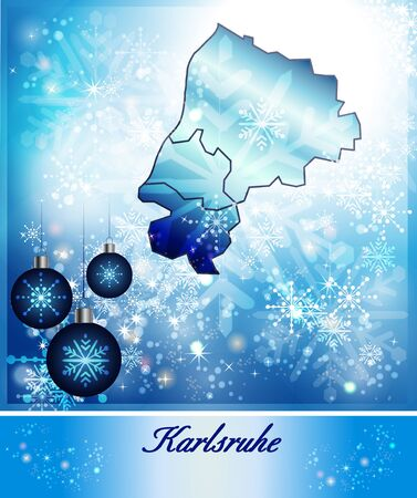 karlsruhe: Map of Karlsruhe in Christmas Design in blue