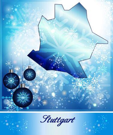 stuttgart: Map of Stuttgart in Christmas Design in blue