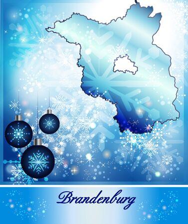 Map of Brandenburg in Christmas Design in blue photo