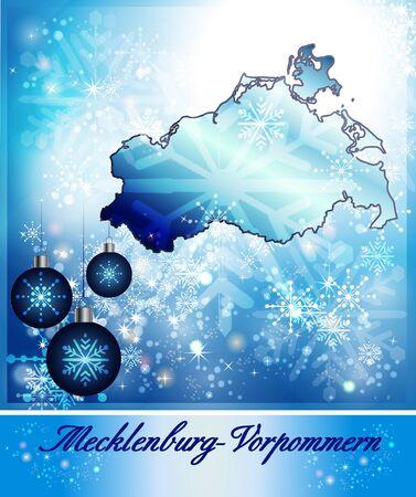 mecklenburg  western pomerania: Map of Mecklenburg-Western Pomerania in Christmas Design in blue Stock Photo