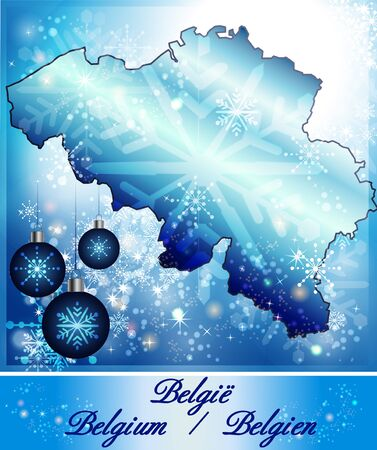 gent: Map of Belgium in Christmas Design in blue