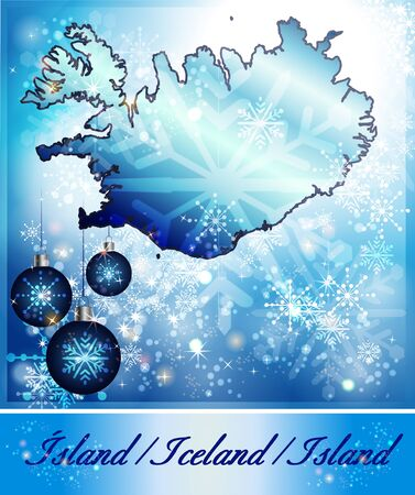 christmassy: Map of Iceland in Christmas Design in blue