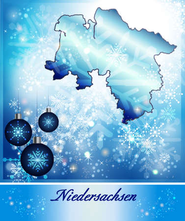 lower: Map of Lower Saxony in Christmas Design in blue Stock Photo