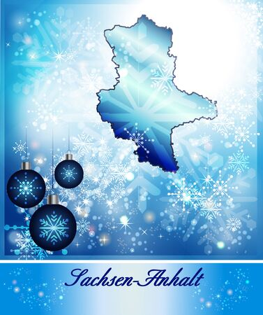 lasting: Map of Saxony-Anhalt in Christmas Design in blue