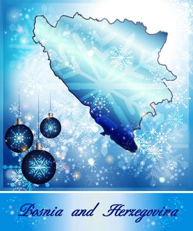 tuzla: Map of Bosnia and Herzegovina in Christmas Design in blue