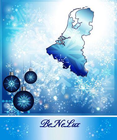 Kaart van de Benelux-landen in Design Kerstmis in blauw