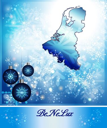 haarlem: Map of Benelux countries in Christmas Design in blue