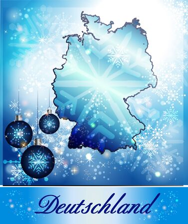 christmassy: Map of Germany in Christmas Design in blue Stock Photo