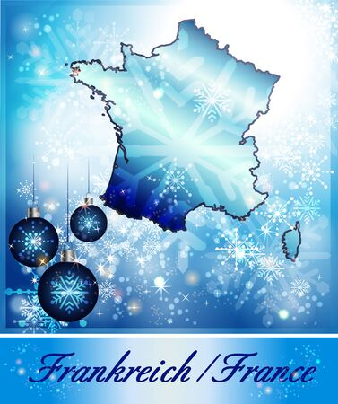 christmassy: Map of France in Christmas Design in blue