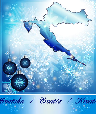 Map of Croatia in Christmas Design in blue