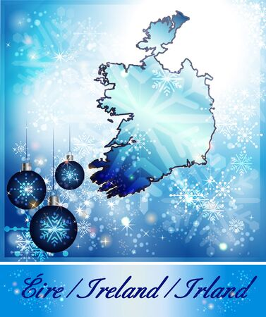 dun: Map of Ireland in Christmas Design in blue
