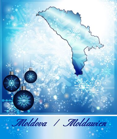bender: Map of moldavia in Christmas Design in blue