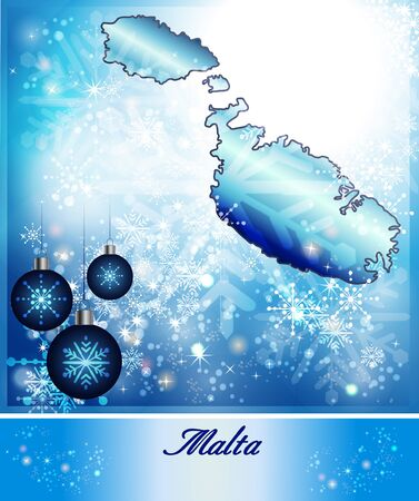 malta map: Map of Malta in Christmas Design in blue