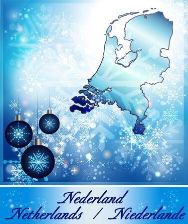 Kaart van Nederland in Design Kerstmis in blauw