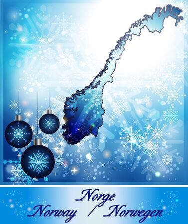 fredrikstad: Map of Norway in Christmas Design in blue Stock Photo