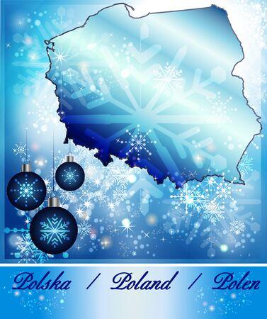 wroclaw: Map of Poland in Christmas Design in blue Stock Photo
