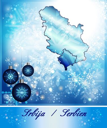 serbia xmas: Map of Serbia in Christmas Design in blue