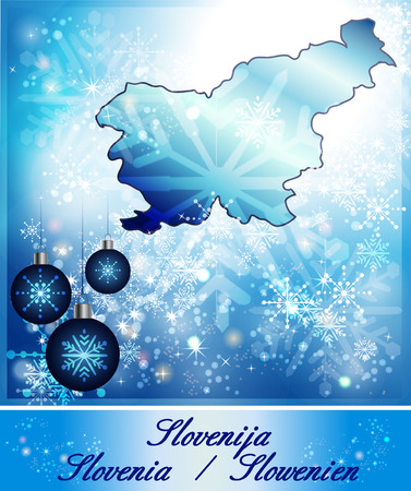 Map of Slovenia in Christmas Design in blue