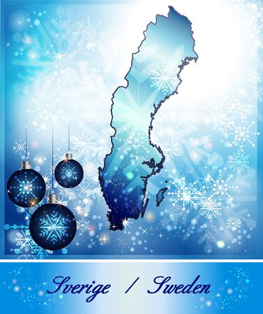 sverige: Map of Sweden in Christmas Design in blue