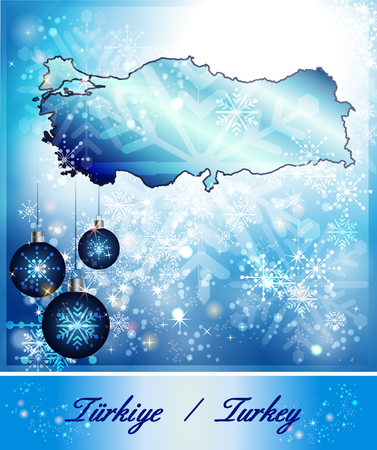 bursa: Map of Turkey in Christmas Design in blue Stock Photo