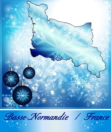 normandy: Map of Lower Normandy in Christmas Design in blue Stock Photo