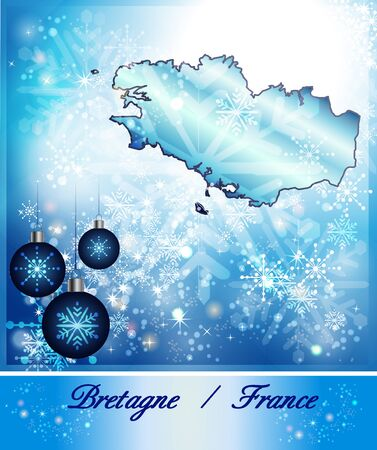 brittany: Map of Brittany in Christmas Design in blue