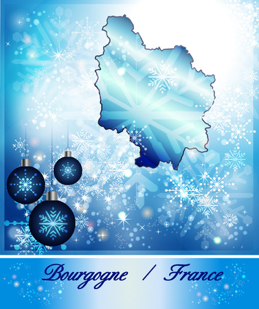 sur: Map of Burgundy in Christmas Design in blue Stock Photo