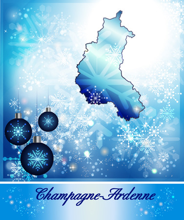 reims: Map of Champagne-Ardenne in Christmas Design in blue