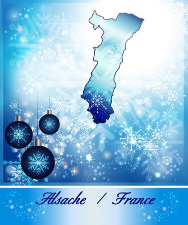 strasbourg: Map of Alsace in Christmas Design in blue