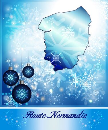 normandy: Map of Upper Normandy in Christmas Design in blue Stock Photo