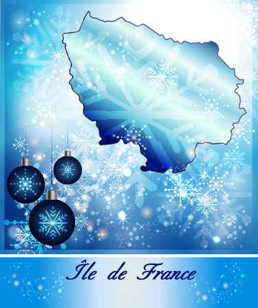 Map of Ile-de-France in Christmas Design in blue