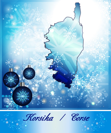 ajaccio: Map of corsica in Christmas Design in blue Stock Photo