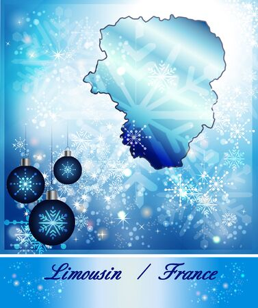limousin: Map of limousin in Christmas Design in blue