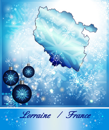 Map of lorraine in Christmas Design in blue