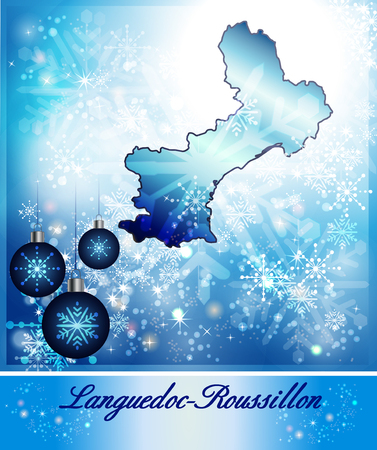 roussillon: Map of languedoc-roussillon in Christmas Design in blue