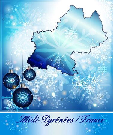toulouse: Map of Midi-Pyrenees in Christmas Design in blue Stock Photo