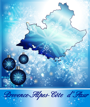 azur: Map of Provence-Alpes-Cote d Azur in Christmas Design in blue